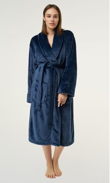 Navy Blue Super Soft Tahoe Microfleece Shawl Collar Robe-Robemart.com