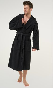 100% Turkish Cotton Black Heavy Weight Hooded Terry Bathrobe-Robemart.com