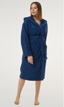 100% Turkish Cotton Navy Blue Heavy Weight Hooded Terry Bathrobe-Robemart.com