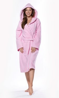100% Turkish Cotton Pink Heavy Weight Hooded Terry Bathrobe-Robemart.com