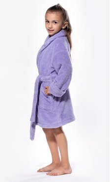 Lavender Plush Super Soft Fleece Shawl Kid's Robe-Robemart.com