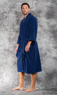 Premium 100% Turkish Cotton Navy Blue Terry Kimono Bathrobe-Robemart.com