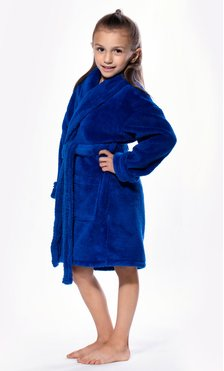 Royal Blue Plush Super Soft Fleece Shawl Kid's Robe-Robemart.com