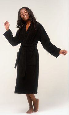 100% Turkish Cotton Black Terry Kimono Bathrobe-Robemart.com