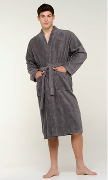 100% Turkish Cotton Gray Terry Kimono Bathrobe-Robemart.com