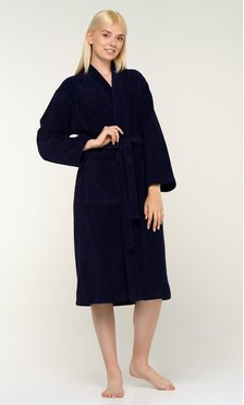 100% Turkish Cotton Navy Blue Terry Kimono Bathrobe-Robemart.com