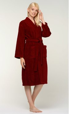 100% Turkish Cotton Wine Red Terry Kimono Bathrobe-Robemart.com