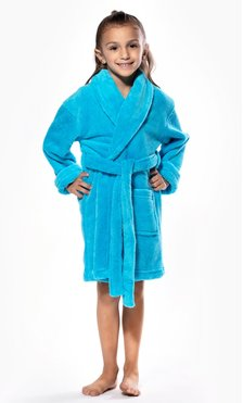 Turquoise Plush Super Soft Fleece Shawl Kid's Robe-Robemart.com