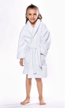 White Plush Super Soft Fleece Shawl Kid's Robe-Robemart.com