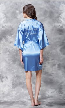 Mother of the Groom Clear Rhinestone Satin Kimono Airy Blue Short Robe-Robemart.com