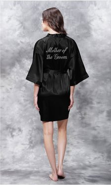 Mother of the Groom Clear Rhinestone Satin Kimono Black Short Robe-Robemart.com