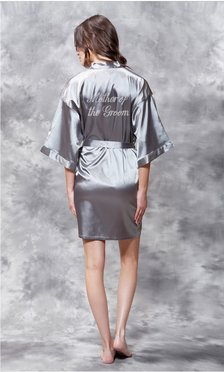 Mother of the Groom Clear Rhinestone Satin Kimono Classic Gray Short Robe-Robemart.com