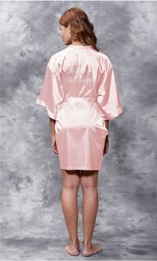 Mother of the Groom Clear Rhinestone Satin Kimono Light Pink Short Robe-Robemart.com