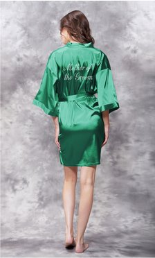 Mother of the Groom Clear Rhinestone Satin Kimono Lush Meadow Green Short Robe-Robemart.com