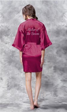 Mother of the Groom Clear Rhinestone Satin Kimono Wine Red Short Robe-Robemart.com
